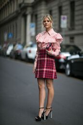 skirt,blouse,plaid,plaid skirt,ruffle,frilly,heels,high heels,clutch,fashion,outfit,stripes,red skirt,pattern,collar