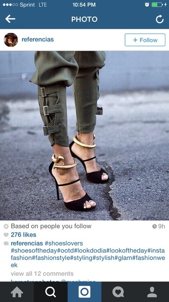 pants style heels clothes outfiits shoes gold black jeans