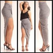 skirt,grey skirt,split skirt,grey