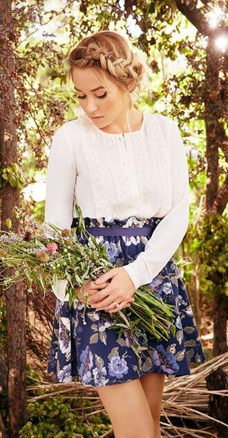 skirt blouse shirt lauren conrad floral skirt
