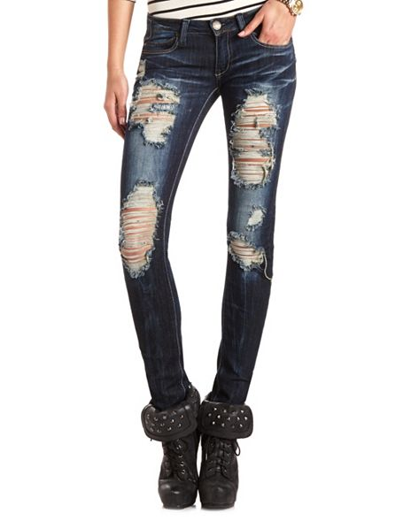 Jeans Destroyed Dark Wash Skinny Jean: Charlotte Russe