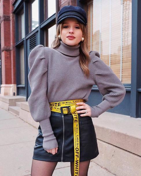 jewels belt mini skirt black skirt zipped skirt leather skirt knitwear knitted sweater turtleneck sweater earrings fisherman cap