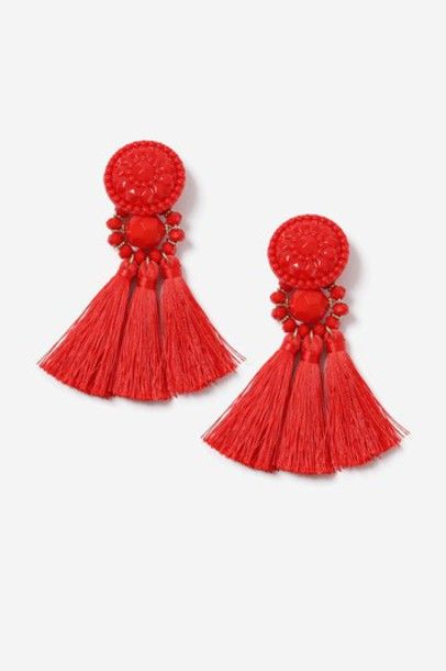 Topshop tassel beaded earrings red jewels