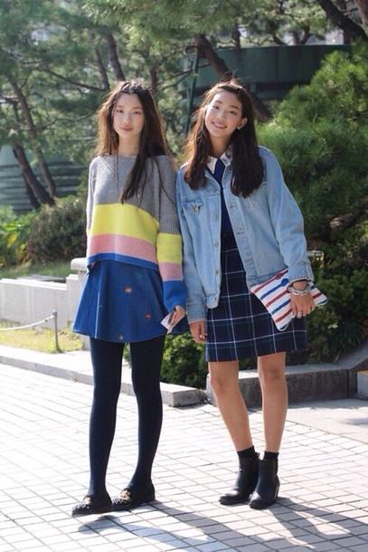 dress cute dress denim jacket denim sweater skirt t-shirt