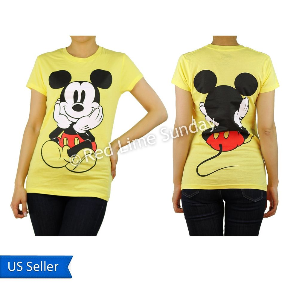 Disney yellow curious mickey mouse print color cotton t shirt top junior new