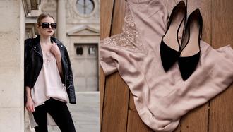 she wears black blogger jewels dress jacket black leather jacket ballet flats camisole