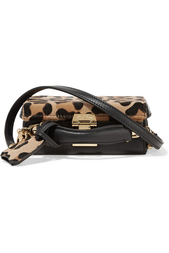 mini hair bag shoulder bag leather print leopard print