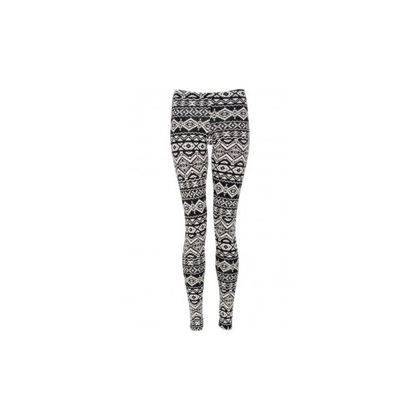 Black and White Aztec Print Leggings - Polyvore