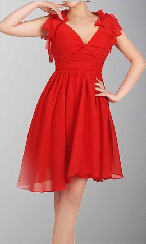 short party dresses short prom dress red dress red prom dress v neck dress asymmetrical skirt asymmetric prom dresses high low prom dresses cut-out
