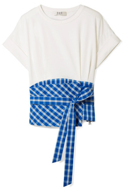 SEA t-shirt shirt t-shirt cotton blue gingham top