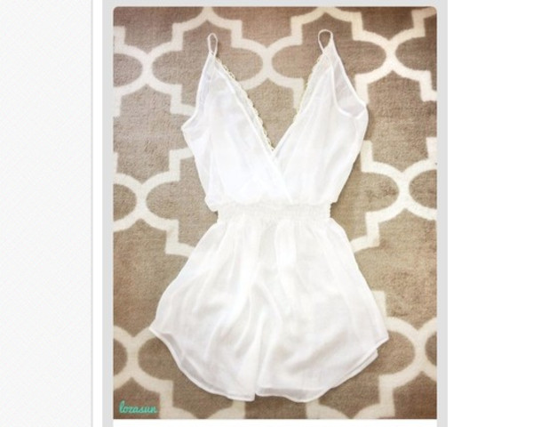 dress white lace white lace trimmings lace trimmings floaty summer outfit cute outfits ootd one piece sinched waist white dress floaty dress summer dress summer outfits elastic waist jumpsuit