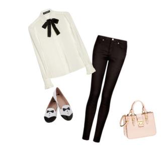 blouse pink purse black skinny jeans white shirt tuxedo shoes chiffon blouse the bow-tie