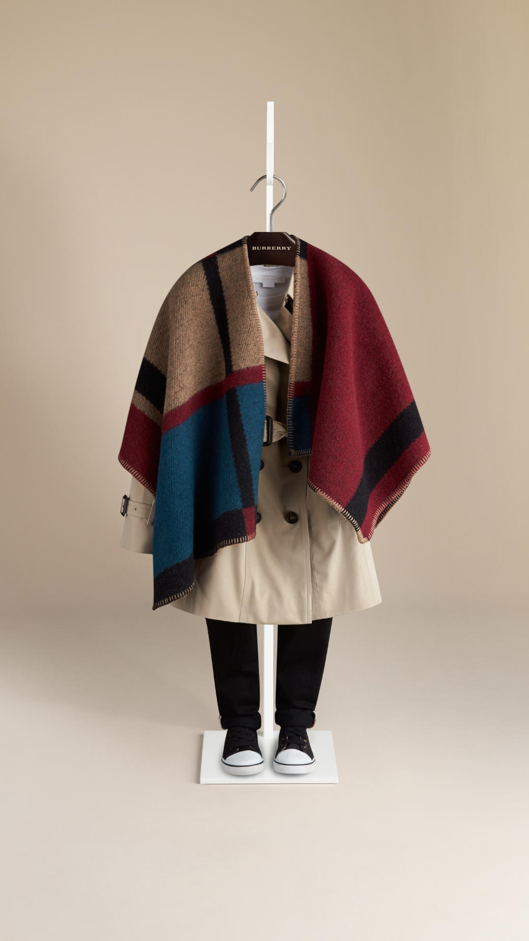 Cashmere Wool Check Blanket Poncho