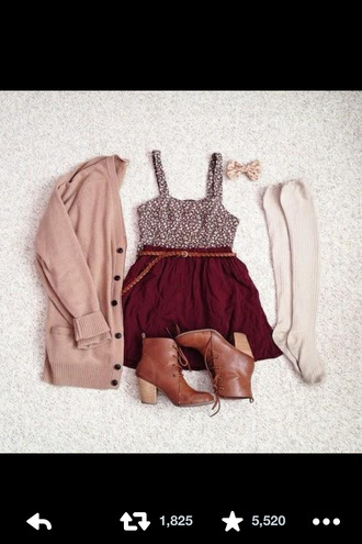 button up fall outfits shoes cardigan floral cream sleeves ankle boots burgundy knee high socks bows underwear
