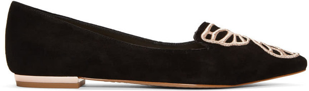 Sophia Webster butterfly flats suede black shoes