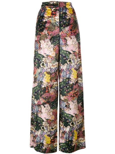 Erdem women floral silk velvet pants