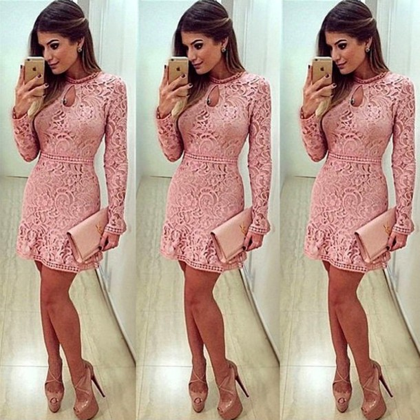 dress, pink, pink dress, light pink, light pink, pink lace dress ...