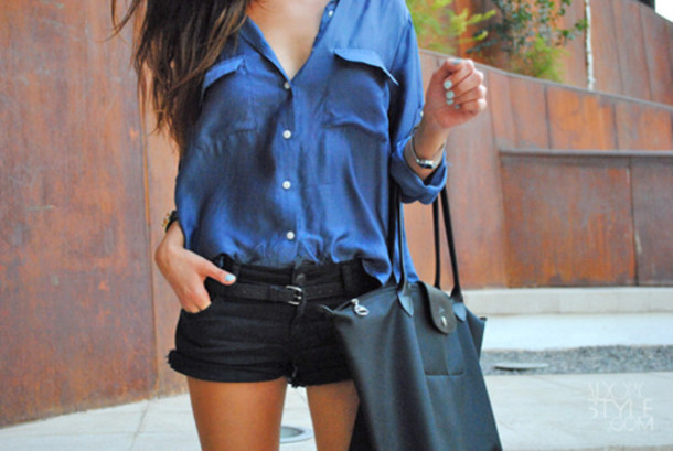 Shirt: top, black shorts, shorts, blue shirt, black bag, bag ...
