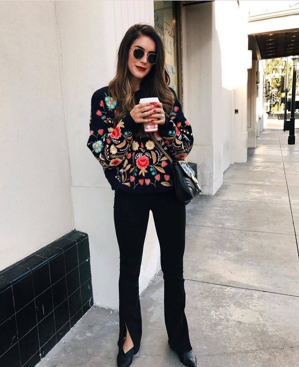 Sweater Tumblr Floral Floral Sweater Embroidered