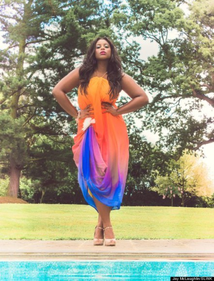 rainbow colorful plus size model perfect