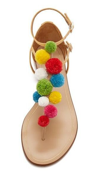 shoes girl girly pom poms nude sandals girly wishlist flat sandals multicolor