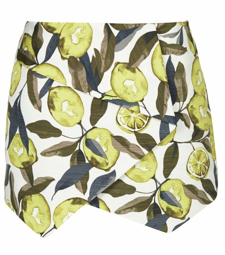 **topshop** lemon tree print ottoman wrap skort retail £34.00