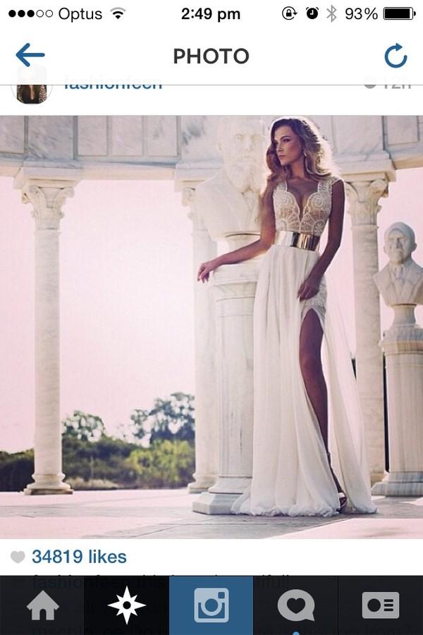 dress prom dress white dress wedding dress gold belt amazing elegant beautiful white wedding dress lace dress ivory gown slit long dress metal gold belt lace prom dress
