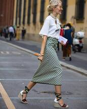 skirt,midi skirt,pencil skirt,gucci,high waisted skirt,espadrilles,logo tee,sunglasses,clutch,necklace,earrings