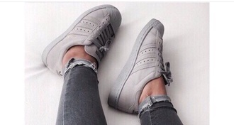 shoes adidas superstars solid grey