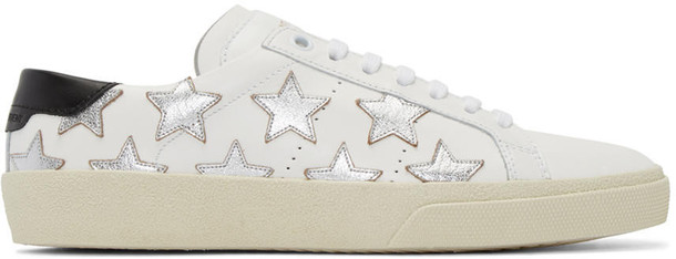 classic sneakers silver white stars shoes