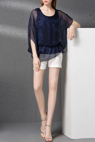 top dezzal boho chiffon white white shorts navy blouse