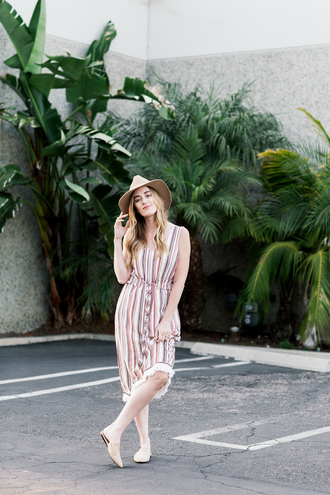 eat sleep wear blogger dress romper shoes hat jewels felt hat flats midi dress spring outfits tumblr sleeveless sleeveless dress stripes striped dress sun hat spring dress