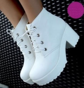 shoes white chunky platform pleather leather plastic laces lace up heels high heels boots ankle ankle boots edgy cute girly urban hipster grunge