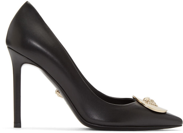 VERSACE heels leather black black leather shoes