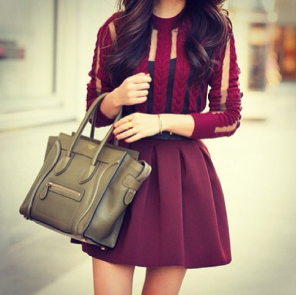 burgundy sweater burgundy red shirt skater skirt burgundy skirt bag