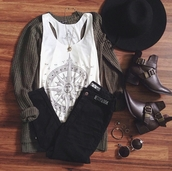 tank top,on point clothing,top,zodiac,cardigan,knitwear,jeans,pants,black jeans,ankle boots,sunglasses,felt hat,hat,fedora,indie,urban,necklace,accessories,Accessory,hipster,style,trendy,cute,tumblr,cool,instagram,pretty,women,gorgeous,fashionista,casual,girly,shoes,bohemian