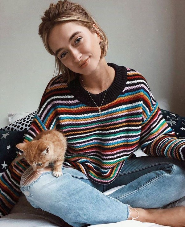 sweater striped sweater multicolor stripes striped top multicoloured sweater rainbow knitwear colorblock colorful shirt winter outfits long sleeves winter outfits 90s style