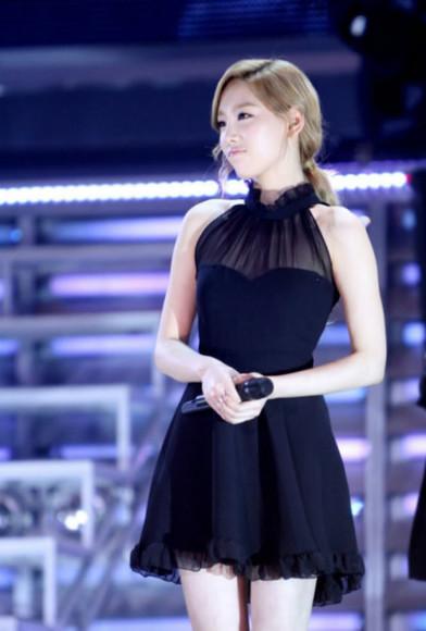dress short ruffle black cute K-pop mesh dress kfashion black dress sheer