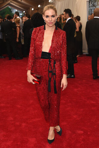 pants suit red red carpet met gala sienna miller metgala2015