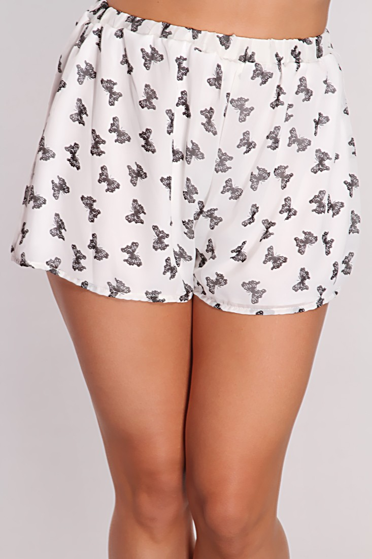 Black Butterfly Print Shorts @ Amiclubwear Shorts,Women's Shorts ...