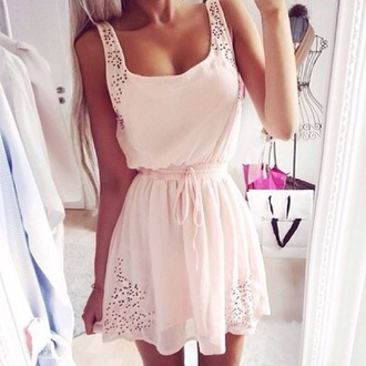 dress peach pink short lace mini