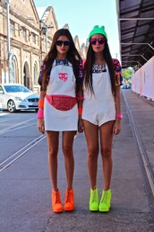 hat,beenie,green,white,heels,dungarees,shiers,shorts,how two live,howtwolive,bum bag,pattern,chanel,necklace,sunglasses,tumblr,blogger,fashion,clothes,illuminous,jeffrey campbell,fanny pack,t-shirt,tank top,jewels,bag,dress,shoes