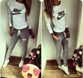 pants,nike,sweater,sport suit,shirt,converse,white,joggers,grey,swag,teenagers,tumblr,long sleeves