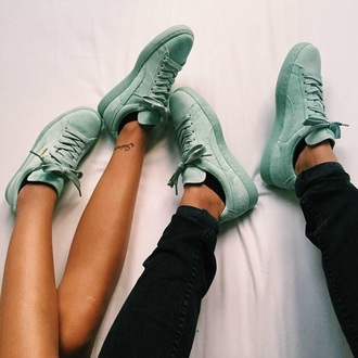 shoes sneakers puma sneakers adidas superstars mint green fall colors puma pastel sneakers