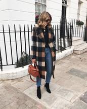 coat,tumblr,tartan,tartan coat,jeans,denim,blue jeans,cropped jeans,boots,black boots,bag,brown bag