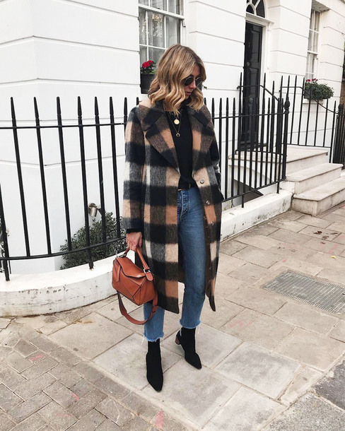 coat tumblr tartan tartan coat jeans denim blue jeans cropped jeans boots black boots bag brown bag