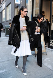 jacket,leather jacket,black leather jacket,acne studios,shearling jacket,shearling,skirt,midi skirt,white skirt,pumps,glitter tights,sunglasses,black sunglasses
