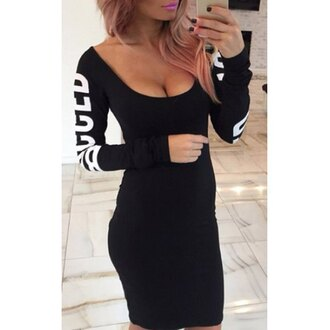 dress black sexy long sleeves cool cute trendy clothes rose wholesale dec