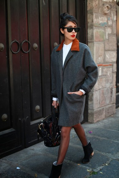 chic muse coat shoes dress shirt sunglasses bag