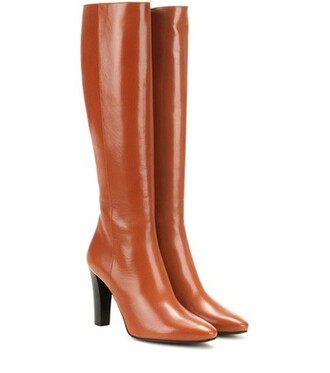 knee-high boots high boots leather brown shoes